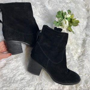 Sam Edelman Black Suede Chunky Heel Booties Boots